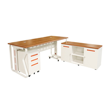 White High Gloss Table Iron Computer PC Desks Modern Office Furniture With Locking Drawers