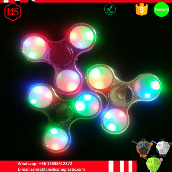 Promotion price wholesale plating electroplating EDC lighting tri fidget spinner led