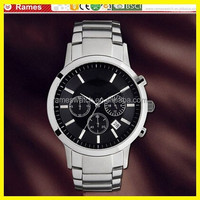 amanie fashion dress custom logo stainless steel chain chronograph watch with multiple time zone