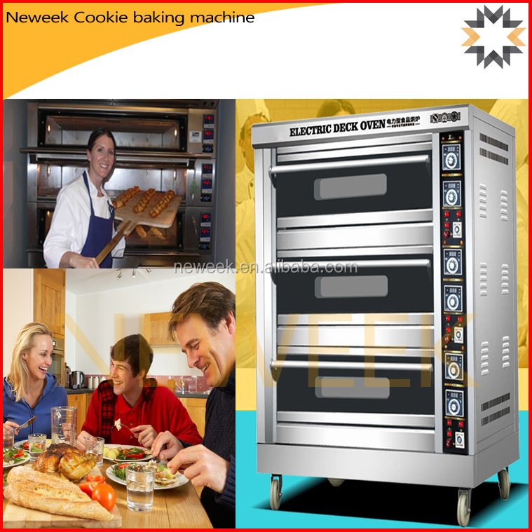 Neweek 3 layer 6 trays pizza making oven electric cookie baking machine
