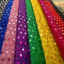 YM hot sale 100% polyester 6mm in stock gold sequin fabric