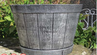 "15"" stout barrel planter , wooden flower pot,plastic painted flower pots wholesale"