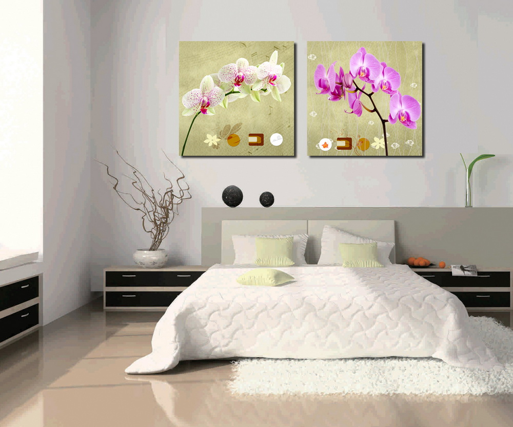 Home Decorative Peach Blossom Butterfly Orchid Simple Flower Painting on Canvas
