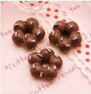 Chocolate Fudge Sprinkled Donut Cabochons resin food
