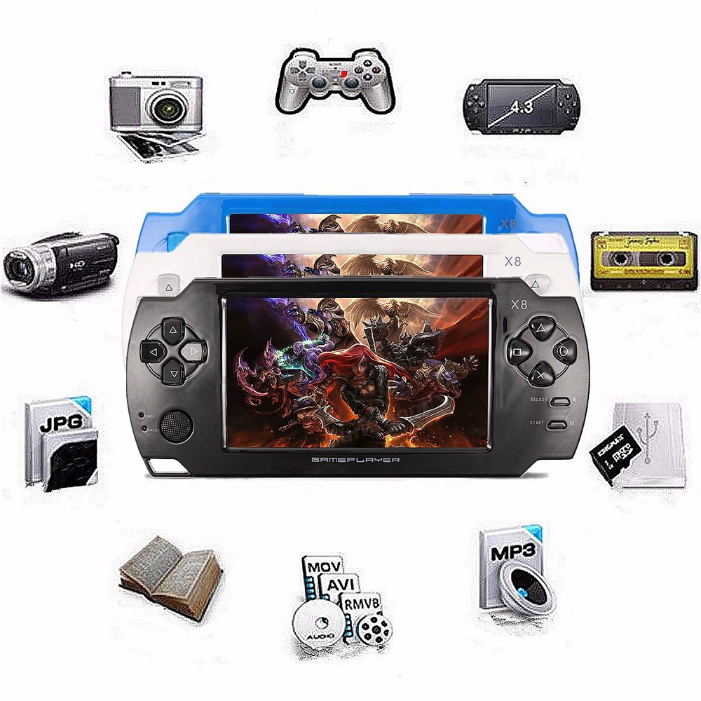 4.3 inch 8Gb Handheld Game ConsoleWith Mp4 Mp5 Function Video Game Built In 1000+ Games for GBA/GBC/SFC/FC/SMD Games