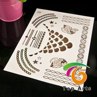 gold foil metallic temporary body tattoos gold / temporary tattoo sticker for hands
