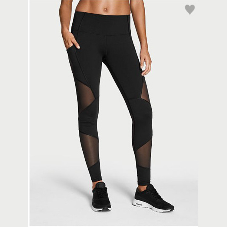 Custom Made Black Sheer Striped Mesh Leggings Recycled Yoga Pants