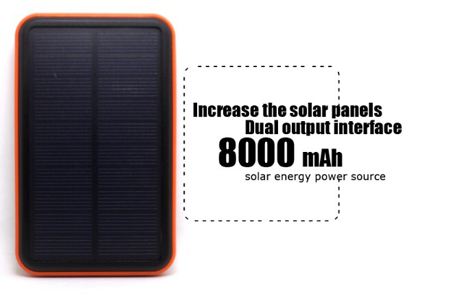 100% Real 8000mAH Solar portable changer 2 usb Port External Battery Pack Power Bank For Cellphone quality reliable power bank