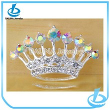 Wholesale fashion silver plated ab crystal crown brooch