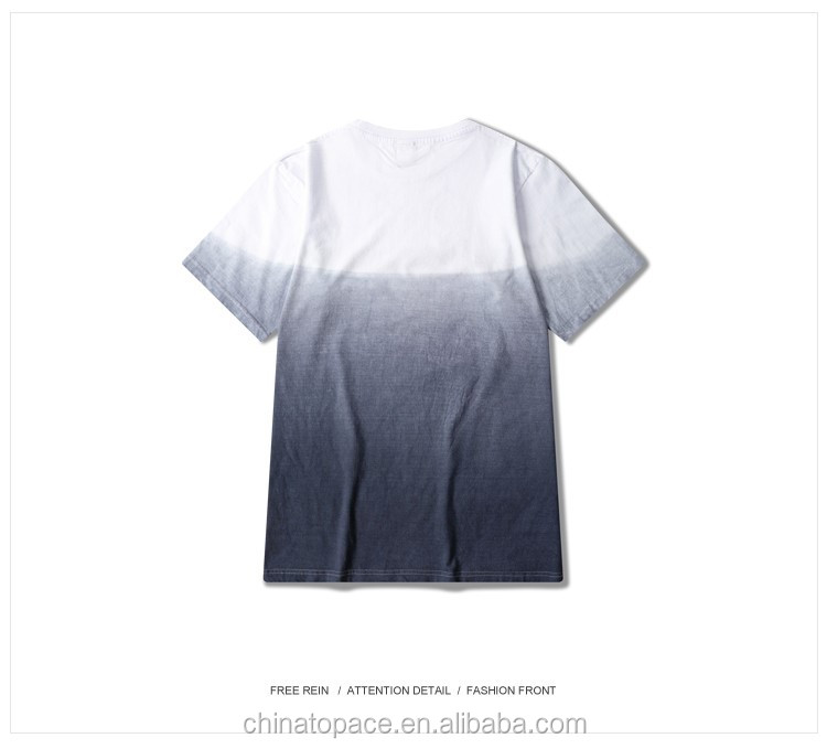 Original Dip Dye T-Shirts European and American Street Style Slim Gradient Casual Cotton Two Tone T-Shirt
