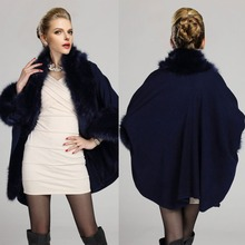Winter Fashion Luxury Faux Fur Coat New Capes And Ponchos Women's Warm Fake Mink Fur Cloak Shawls With Fur Trim