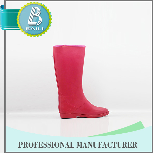 2016 Top quality 100% Natural Rubber Solid Color rain boots women