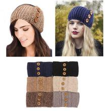 Women's Lady Hairband Hemp Crochet Headband Knit Warmer Headwrap with Button