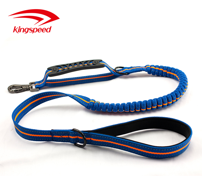 Comfortable Padded Dual Handles Safety Walking Bungee Dog Leash