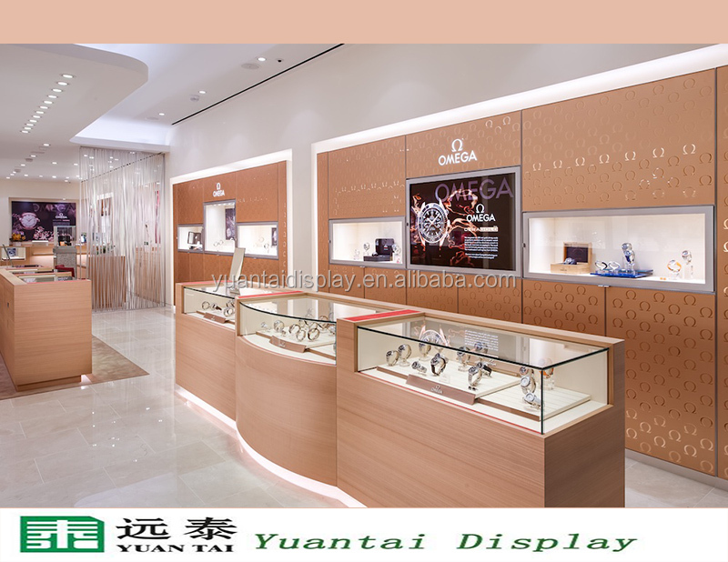 high quality luxury oak wooden glass watch display stand showcase furniture for retail shop