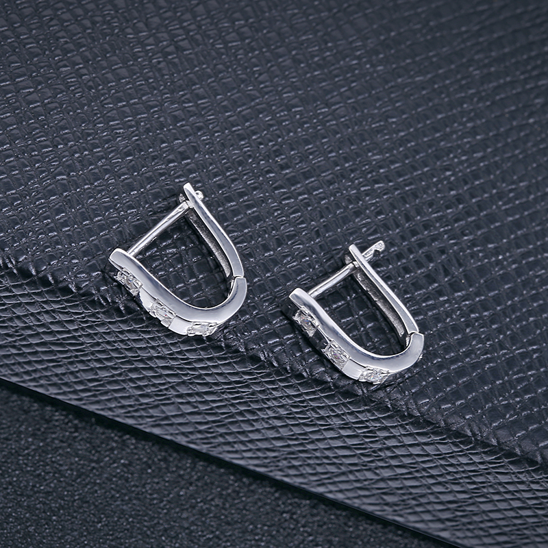 <strong>U</strong> shaped sterling silver clip on huggie earring
