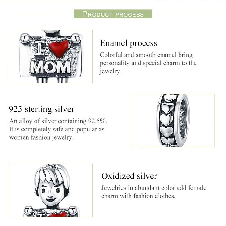 BAMOER 100% Authentic 925 Sterling Silver I Love Dad Lovely Boy Charm Pendant fit Charm Bracelet & Necklaces Jewelry
