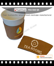 OEM Custom Logo Print Disposable Corrugated Kraft Paper Coffee Cup Sleeve