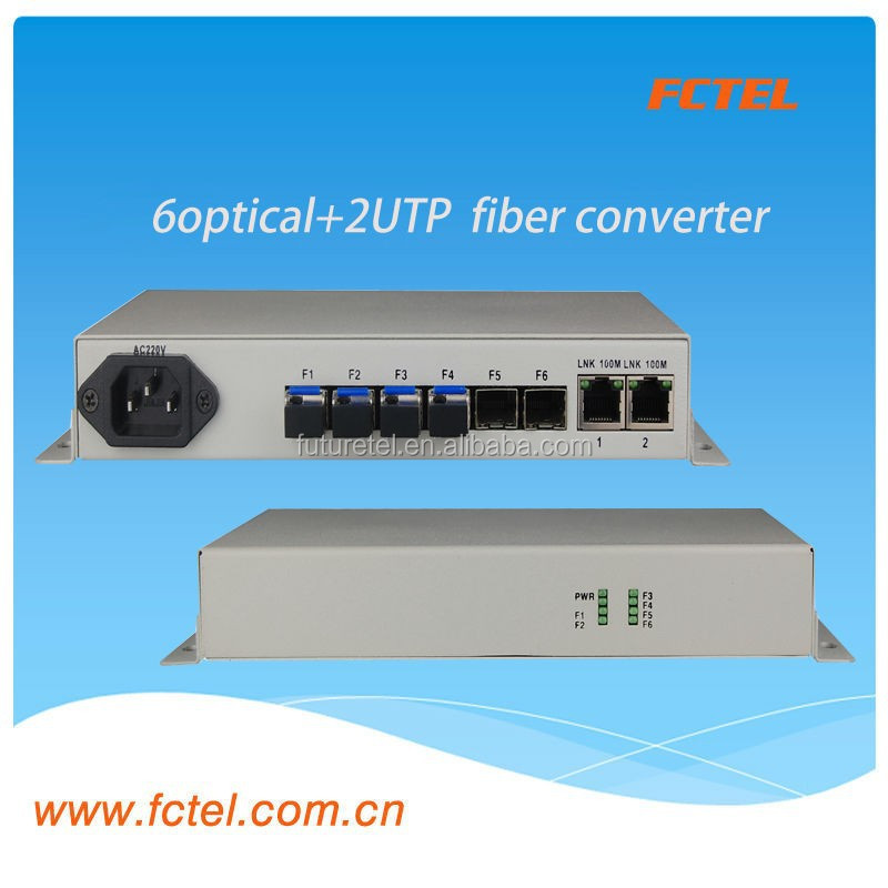 6Optical Interface+2UTP media Converter/switch fiber optic equipment