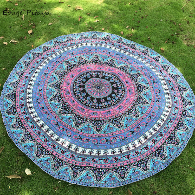 low MOQ cover up custom round bohemian style beach towel <strong>cotton</strong>