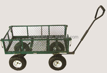 heavy duty Steel Mesh 4 Wheels Foldable Garden Tool Cart Wagon