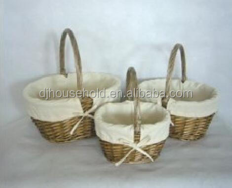 Picnic Hamper Basket for 2 Persons With Easy Carry Handle Split Willow Picnic Basket set of 3pcs H6623
