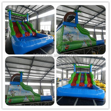 Forest theme double water slide with splash pool for backyard