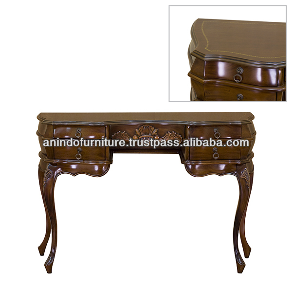 Mahogany Carved Gold Embossed Writing Table