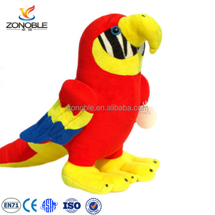 Lovely red plush animal toy cuddly parrot soft bird for kids custom cute plush animal stuffed parrot