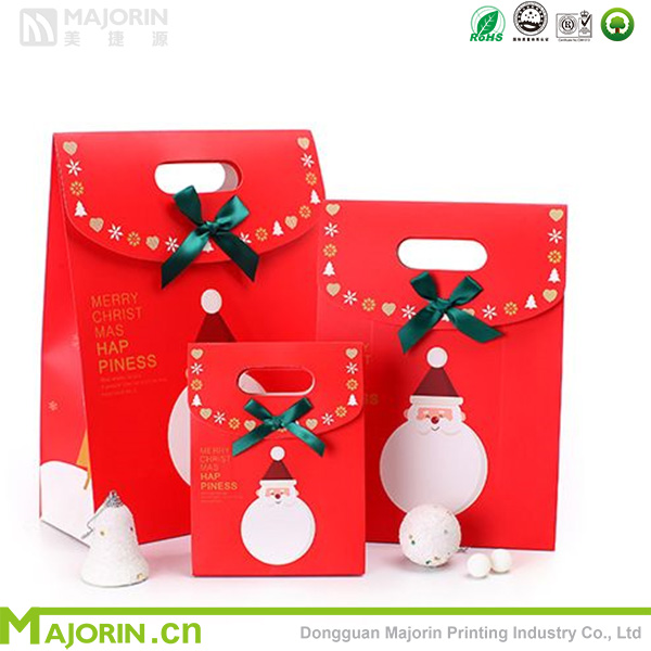 Die cut handle christmas gift paper bag with velcro