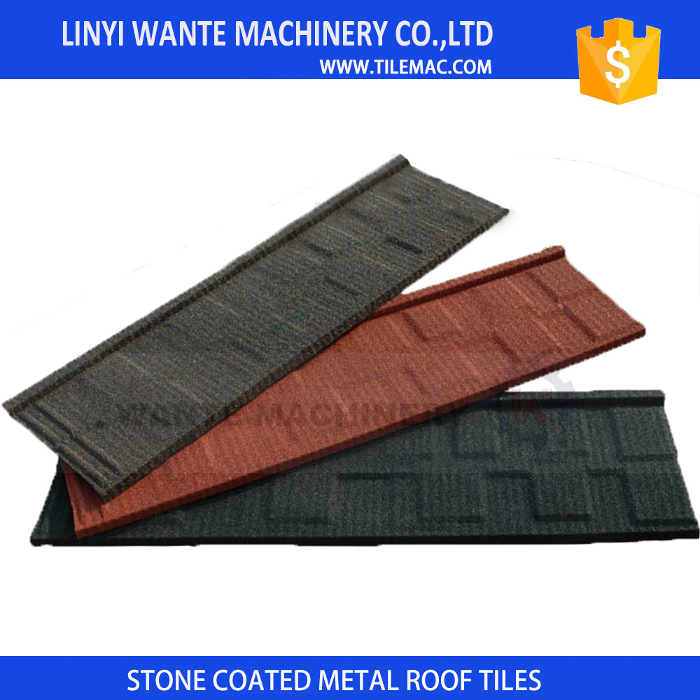 Linyi 'Cheap Flat stone coated metal roofing shingles for home use