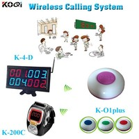 Most Popular Waiter Table Buzzer Bell Show 4 Group Number Equipment K-4-D+K-200C+K-O1plus Restaurant Pager Calling System
