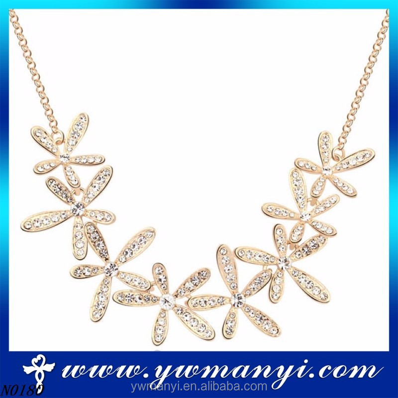 Popular style selling well fashion jewelry charming flower Indian necklace cheap rhinestone jewelry accessories woman 2016 N0180