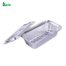 Takeout Disposable Biodegradable Barbecue Food Square Packaging Aluminum Foil Container With Lid