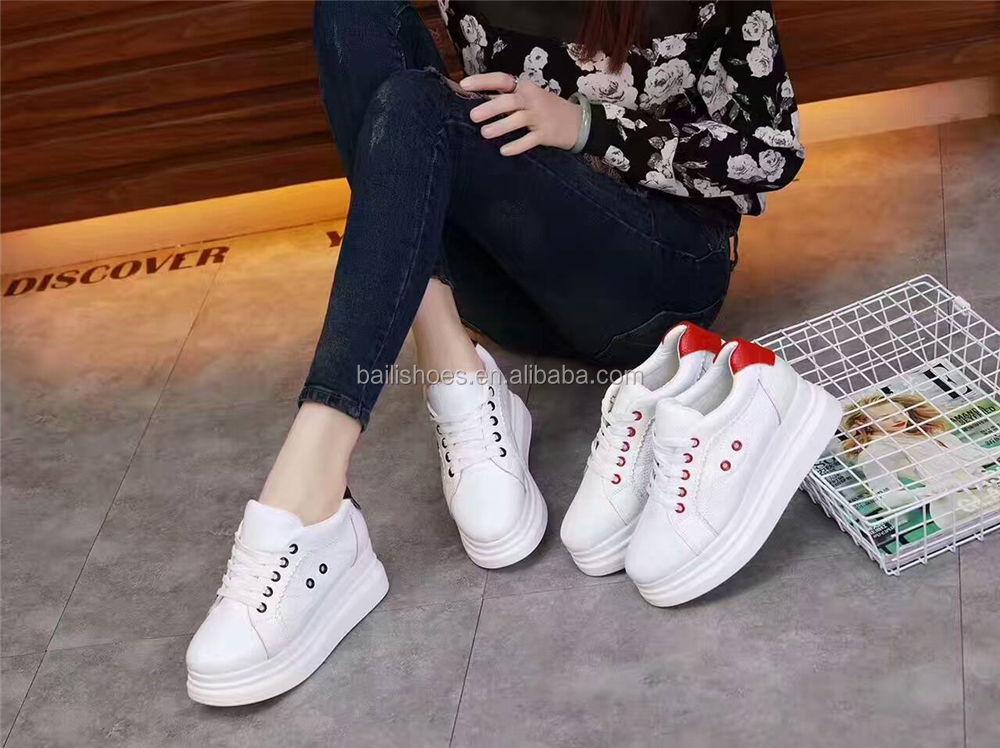 Unisex lace up color blocking eyelets buckles decoration carving platform sneakers fashion comfortable round-toe sports shoes