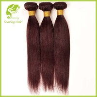 Colored 3 Bundles Red Brazilian Hair Weave, Virgin Brazilian Hair 3 Bundles