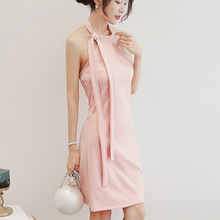 ZH0962E Korean style beauty lady pink halter dress sleeveless party wear wrap dress