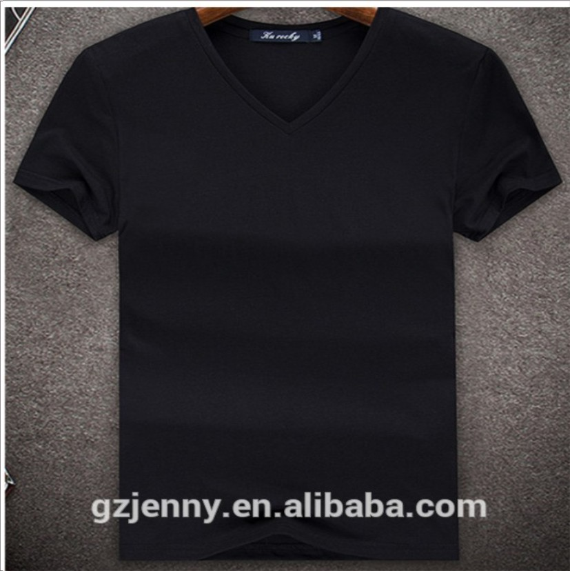 Wholesale Cheap Men Cotton V Neck White Blank Custom Tee Shirt