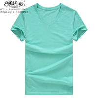 2016 Peijiaxin Fashion Pure Color High Quality Bulk Wholesale Blank Fitted V Neck T-shirt