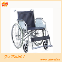 Fixed footrest steel frame commode wheelchair for elderly
