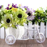 Sale New Plastic White Tricycle Bike Design Flower Basket Container For Flower Plant Home Weddding Decoration