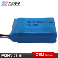 high power rechargeable 7.4v 1300mah waterproof lithium li ion battery pack
