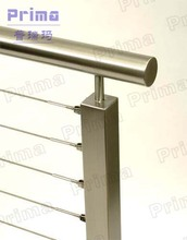 mirror finish stainless steel rod stair railing for public area