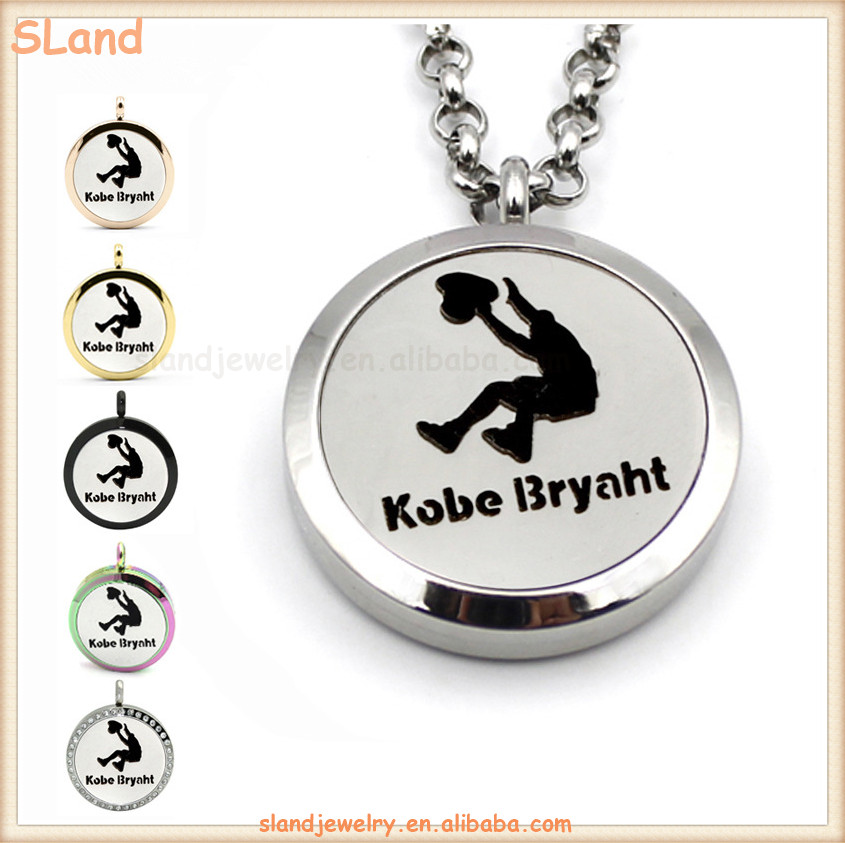 Magnetic Stainless Steel Kobe Slam Dunk Pattern Essential Oil Diffuser Necklace Aromatherapy Locket Pendant with Chain Jewelry