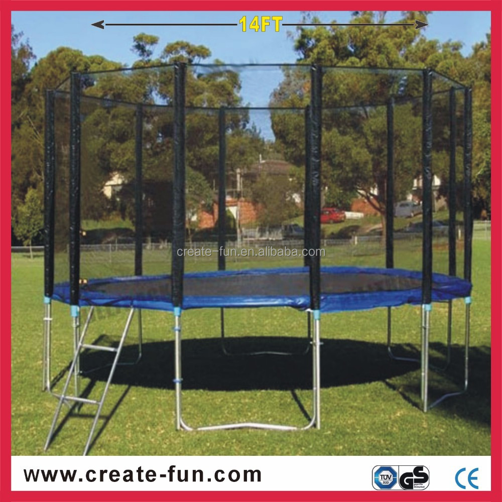 CreateFun large garden 14ft kids playing jumping trampoline with tent