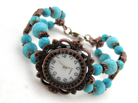 handmade turquoise beaded birthstone watch bracelet