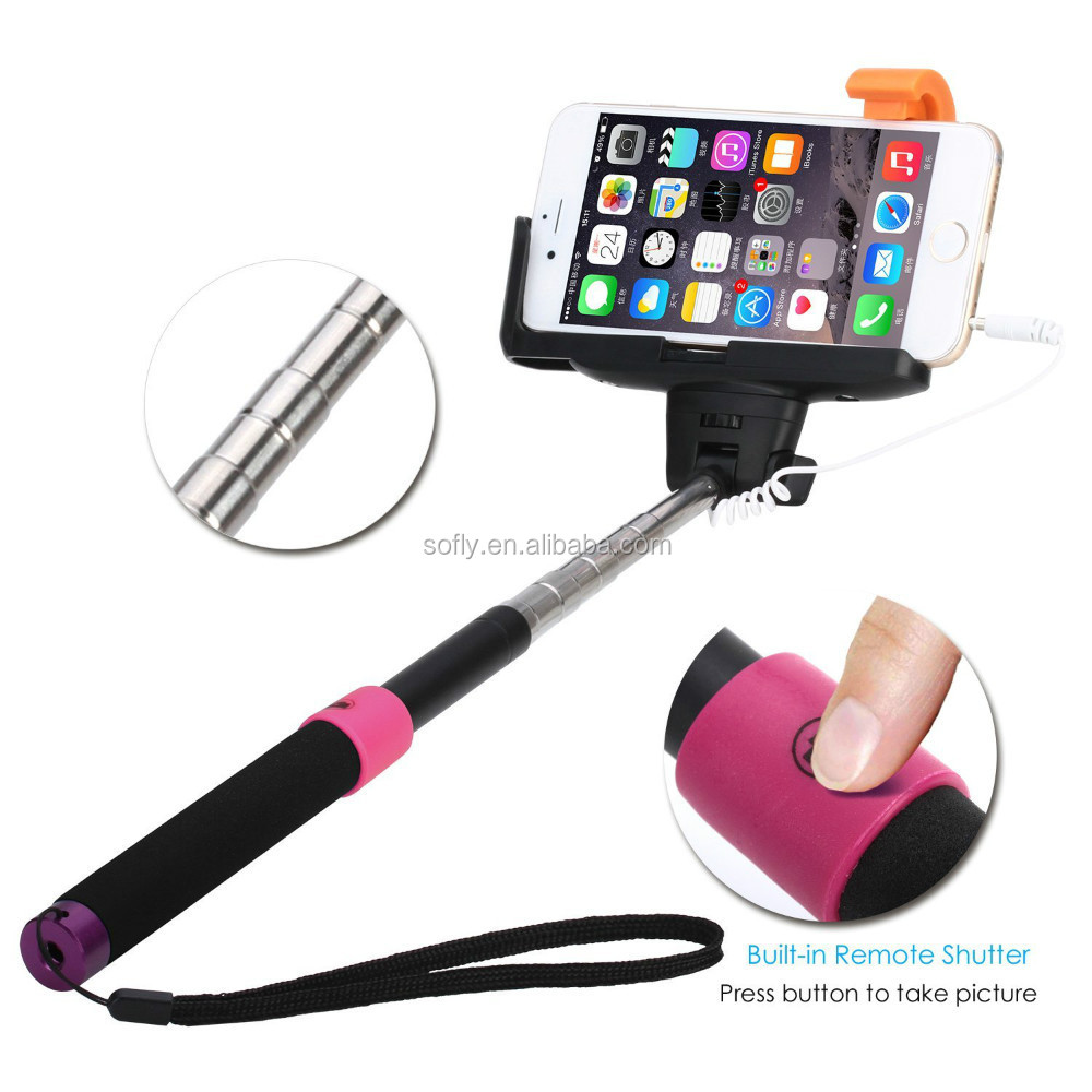QuickSnap cable take pole selfie stick for htc for Traveling