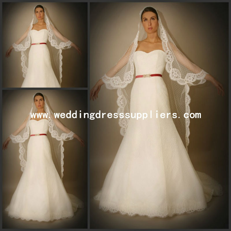 LVL-025 2013 Hot Sale Lace Edge Floor Lengh Bridal Veils