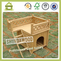 SDD01 Unfinished Wood Dog House With Balcony