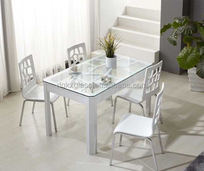4 seater and 6 seater Tempered glass dining table top